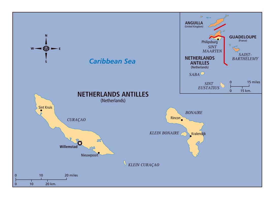 Mappa delle Antille Olandesi